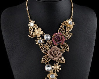 Bold Floral Choker Statement Necklace