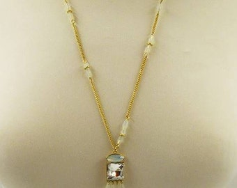 Lovely Long Gold, Crystal & Bead Tassel Necklace