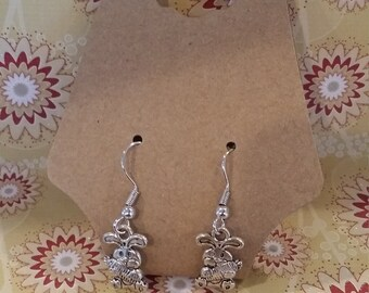 silver tone happy bunny rabbit with giant carrot nickle free earrings Easter/springtime/farm/garden