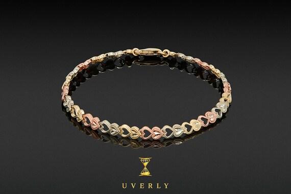 14k Solid Yellow White Rose Gold Multi-Color Heart Elegant Women's Bracelet