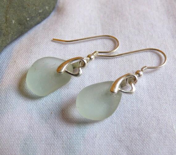 Heart Earrings, Sea Glass Earrings, Dangle Earrings, Sterling Silver, Sea Glass Jewelry, Sea Glass Jewellery, Love Earrings - ED16006