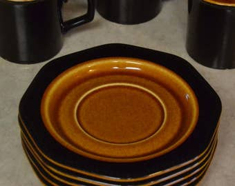 Sears Octagon Amber, SAUCER, Tableware Dishes, brown black beaded retro vintage ironstone oven dishwasher 4567
