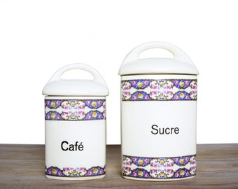 Vintage Canister set for Sugar and Coffee - Porcelain food storage boxes with flowers - GERDA canister boxes - vintage kitchen Sugar Coffee