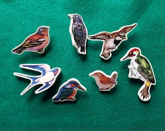 Handmade Wooden Bird Brooches Swallow Kingfisher