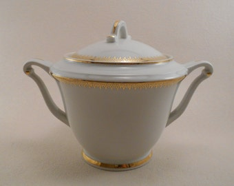 Vintage Limoges U.C - China Coffee Pot - White and Gold Design