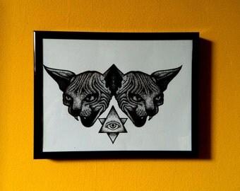 Sphynx Cat Dotwork Blackwork Art Print