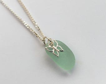 Sea Glass necklace ,Stunning Sterling Silver Necklace with Light Blue/Green Sea Glass Pendant and Butterfly Charm