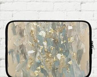 "Blue and Gold Abstract Laptop Sleeve 15"" - iPad Sleeve 10"" - Kindle iPad Mini Sleeve 8"" - Neoprene Sleeve with Zipper"