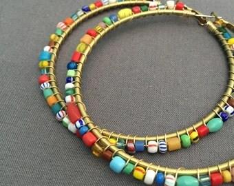 irisa - wire wrapped beaded hoop earrings