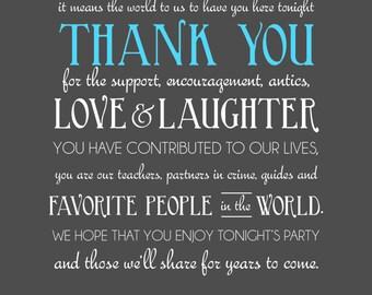 Thank You Card, Wedding Reception, Details, Display