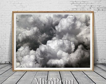 Clouds Print, Cloud Photo Print, Black and White Cloud Photography,  Large Poster, Wall Art, Modern Scandinavian, Nature, Printable Download