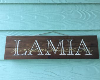 Painted Wood Family Name Sign