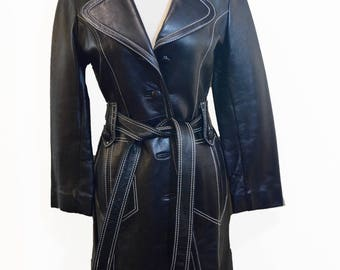 Beautiful Vintage 70's Leather Coat With White Stitching