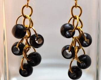 Black and Gold Dangle Earring