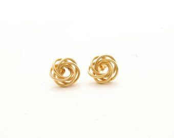 Vintage 14K Yellow Gold Large Knot Stud Earrings