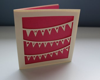 Personalisable Paper Cut Bunting Birthday Card