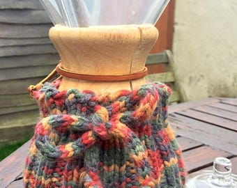 Hand Knitted Chemex cosy for 6-cup wood neck Chemex coffee maker - coffee cozie