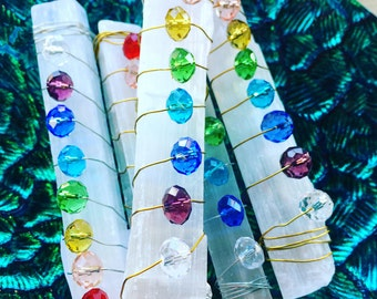 Chakra Wand - Handmade Wire Wrapped Selenite Crystal with chart and pouch - Chakra Healing - Crystal Healing - Yoga - Reiki