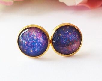 Purple Stud Earrings, Purple Earrings,Glass Cabochon Earrings,Purple Glass Dome Earrings,Space Galaxy Universe Earrings, Gift for girlfriend