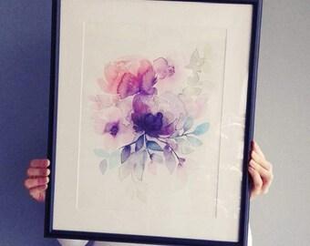 WATERCOLOR FLOWERS Purple Peony Bouquet - Art print of my watercolor painting / Purple watercolor flowers / Floral art print / Floral poster