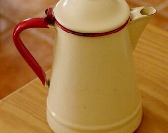 Enamel coffee pot, vintage coffee pot, Portuguese coffee pot, Minchin MR, retro coffee pot, enamelware, shabby chic enamel, metal coffee pot