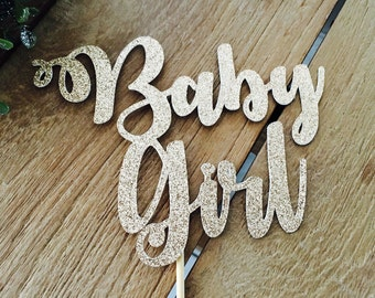 Baby Girl Cake Topper, Baby Shower Cake Topper, Baby Shower Glittery Cake Topper, Topper Gender Reveal Party.