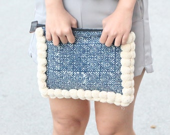 Handmade Boho Batik Clutch With  Cotton Pompoms
