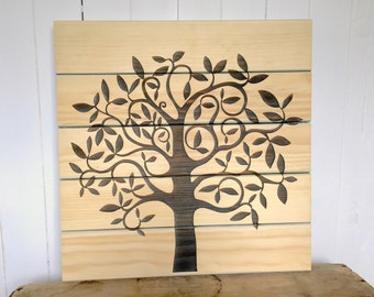 Spring Tree of Life, Home Decor, Wooden Sign, Rustic Wall Decor, Shabby Chic Farmhouse Home Decor, Laser Engraved