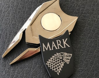 Game of Thrones Personalized Golf Ball Marker Divot repair Tool Groomsman Groomsmen Boyfriend Son Husband Dad gift for golfer, direwolf golf