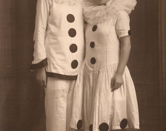 RARE Pierrot and Columbine Original Vintage 1920s French Real Photo Postcard RPPC Fancy Carnival Studio Portrait Unusual Couple in Costumes