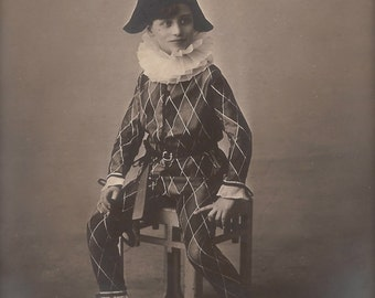 Roger The Harlequin… 1928 Original Vintage French RARE Real Photo Postcard RPPC…Fancy Carnival Children Studio Portrait in Elaborate Costume