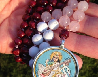 Saraswati Devi mala | Creativity & flow | JAPA Mala. Rose Quartz | Howlite | Hindu goddess of the arts and music. Yoga jewelry