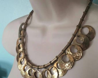Vintage OOAK Tribal ATS Belly Dance, Gypsy Boho Hammered Brass Necklace