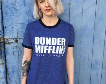 Dunder Miiflin, The US Office | Blue Ringer Tee