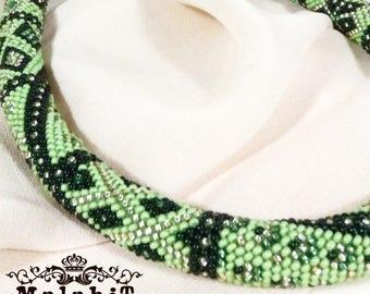 Black Green Beaded Crochet Necklace. Gift for Her, for Mom, Original.  Apple.