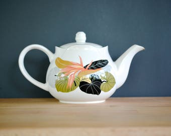 Sango Tea Pot, Larry Laslo, tropical, lidded, white, palm, birds of paradise