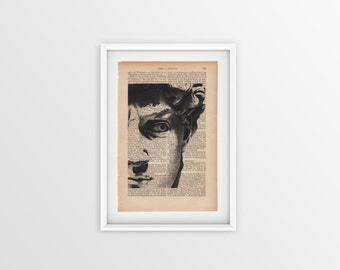 David by Michaelangelo on an old page, vintage print of David a page from 1877, Gothic font, print of David Michelangelo, vintage print