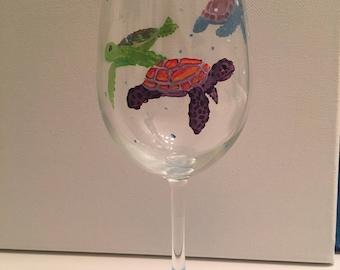 Hand painted Sea Turtle Wine Glass