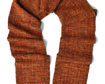 Wool Scarf - Winter Scarf - Hand Woven Scarf - Hand Made Scarf - Orange Scarf - Handwoven Scarf - Woven Scarf - Gift for Her - Birthday Gift