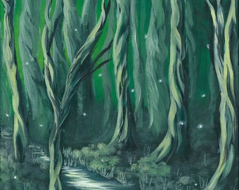 Midnights Shades Print, Fireflies, Landscape, Fine Art, Print, Fantasy, Painting, Forest, Moon, Surreal, Woods, River, Artwork