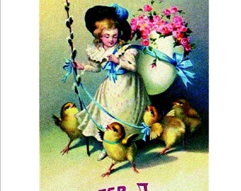Victorian Girl with Baby Chicks, Easter Joy