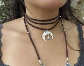 Bohemian Wrap Necklace, Choker Necklace, Native American Jewelry, Brown Turquoise Suede Necklace, Crescent Moon Necklace, Bohemian Jewelry
