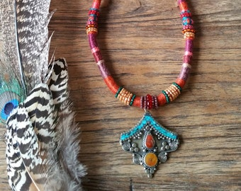 Beautiful Wrapped neck adornment unique one of a kind, Shanti Ma, Gypsy, Boho Necklace
