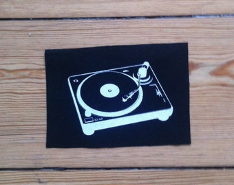 Turntable Patch, sew on patch, black Patch, punk patch
