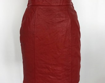 Vintage 80's Red Leather High Waisted Pencil Skirt Chia Small 6