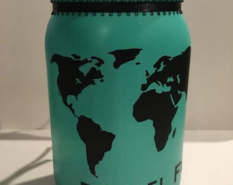 Travel Fund Jar, Personalized Vacation Fund, Coin Slot Lid, Vacation Savings Fund, Family Vacation Savings, Trip Savings Fund, Trip Bank