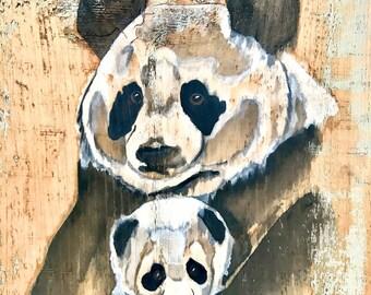 Panda Bear Wall Art - Animal Nursery Art - Panda Bear Wall Decor - Reclaimed Wood Art - Wood Wall Art - Wood Wall Decor - Panda Nursery Art