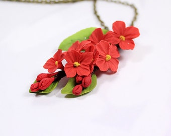 flower girl gift red flower necklace rustic wedding jewelry red gifts for girl red wedding necklace red  flower girl necklace lilac FJ46r