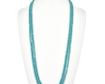 "Navajo Turquoise Silver Beaded Necklace Three Strands 35"" Long Native American Jewelry"