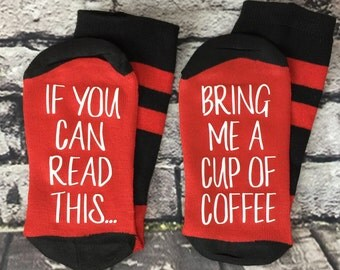 Coffee socks If you can read this bring me a cup of coffee Gift for her New Mom gift Baby Shower gift